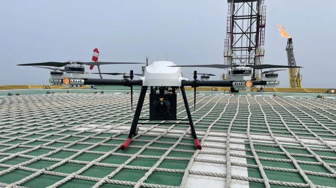 蜂巢HC-342无人机再次前往渤海油田,进行海上管道巡检及物资运输交付作业